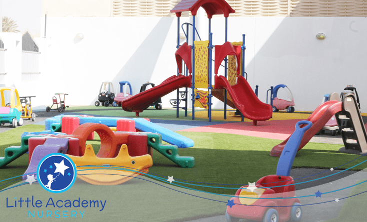 A ground with different toys and giving a complete picture of a play land for kidsd