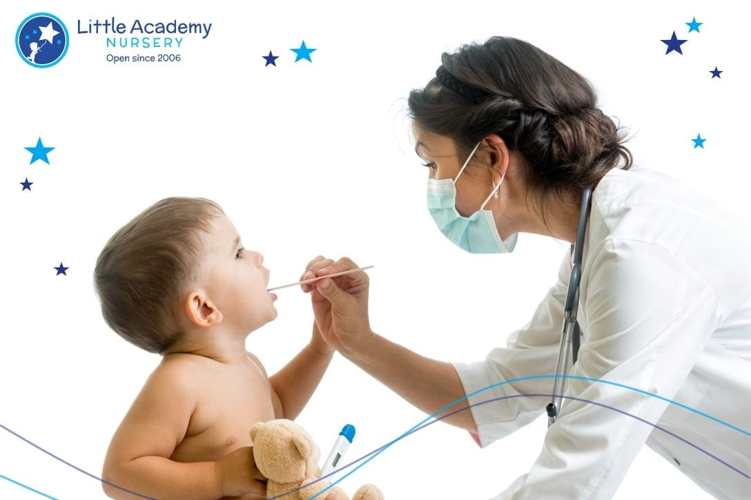 A doctor holding a kids left hand.